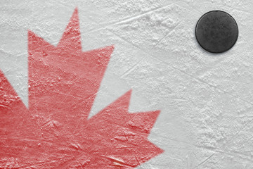 Fragment of the image of the Canadian flag and washer