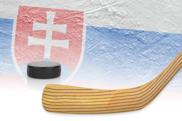 Stick, puck and hockey field