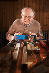 Senior at the model railroad
