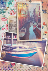 Postcards patchwork of Venice city series