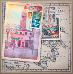 Old fashioned postcards and stamps of the Venice city series