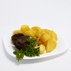 Potatoes with meat and greens