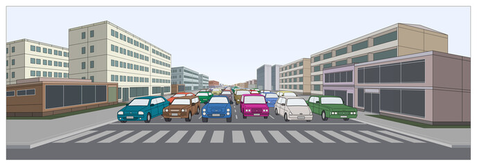Urban Road with Cars.