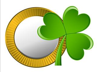 Retro Golden Coin with Clover Leaf Vector