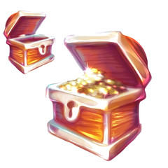 Vector illustration of treasure chest with and without coins
