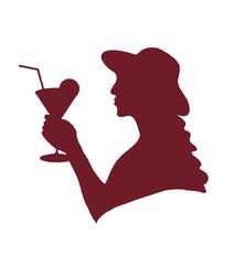 дама в шляпе пьет коктейль