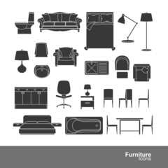 Set of furniture silhouette icons, vector illustration