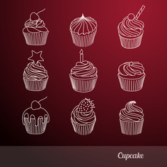 cupcake line icons set vector illustration
