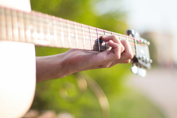 walk in the park with a guitar