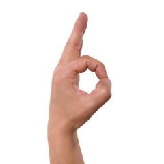 Hand macht Geste für OK