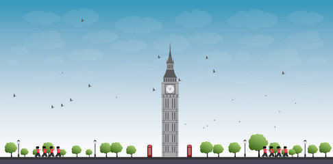 Big Ben Tower in London and Blue Sky with Clouds