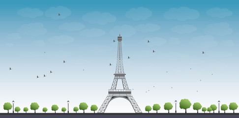 Vector illustration of Eiffel Tower with Blue Sky and Tree