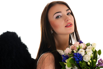 portrait of a beautiful woman with black wings