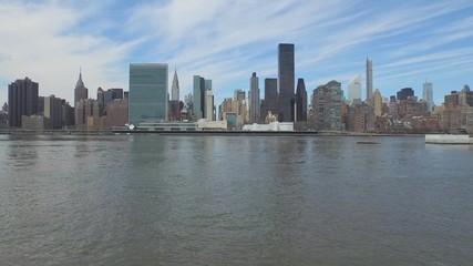 New York City aerial Manhattan midtown buildings skyline