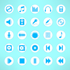 Audio icons set made in clean and simple design. Music signs