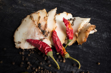 Salo with spices and red pepper