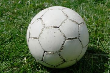 Weißer Fußball in Wiese
