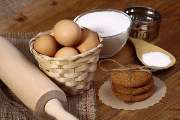 Ingredients and appliances for cooking oatcakes