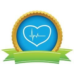 Gold heart beating logo