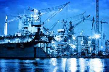 Shipyard at work, ship repair, freight. Industrial