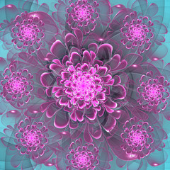 Beautiful purple flower on blue background. Computer generated g