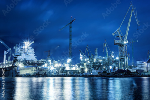 Shipyard at work, ship repair, freight. Industrial - 81800617