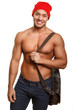Attractive smiling guy with bag