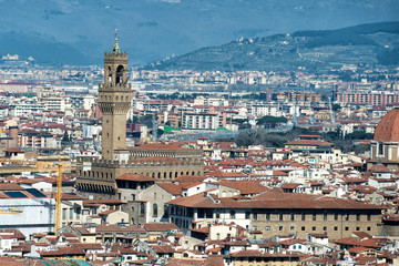 Florence Dome and tower Aerial View Cityscape