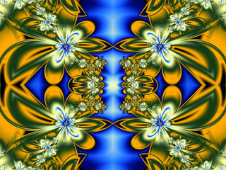 Flower pattern in fractal design. Green, yellow and blue. Comput