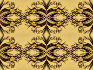 Flower pattern in fractal design. Beige and brown palette. Compu