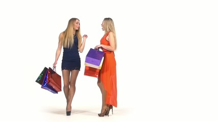 Two beautiful, happy girls with shopping bags talking about