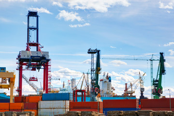 Shipyard. Ship under construction, repair.  Industry, transport