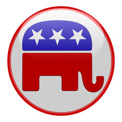 Elections button shape with Republican party icon
