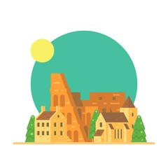 Flat design of Colloseum Italy with village
