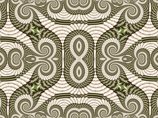Symmetrical Pattern from Spiral fractal. Gray and green palette.