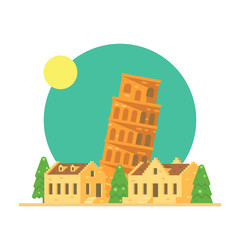 Flat design of the leaning tower of Pisa Italy with village