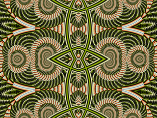 Symmetrical Pattern from Spiral fractal. Gray and brown palette.