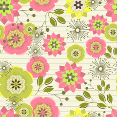 Seamless abstract colorful background made of flowers and leaves