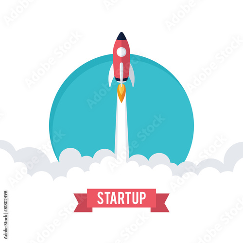 Flat designt business startup launch concept. - 81802499