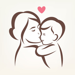 mother and son stylized vector silhouette, outlined sketch of mo