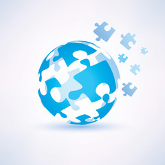 globe made of puzzle piecies, business and technology concept