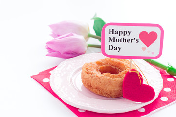 donut with elegant flower for mother's day
