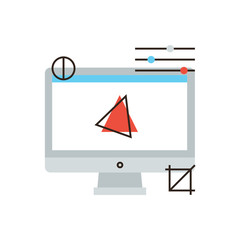 Computer graphics flat line icon concept