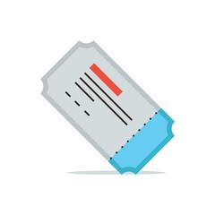 Movie ticket flat line icon concept