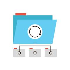 Data synchronization flat line icon concept