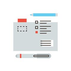 File accounting flat line icon concept