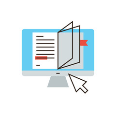 Online book flat line icon concept
