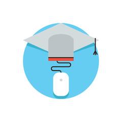 Online education flat line icon concept