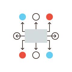 Organization flowchart flat line icon concept