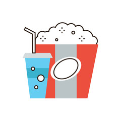 Snack for cinema flat line icon concept